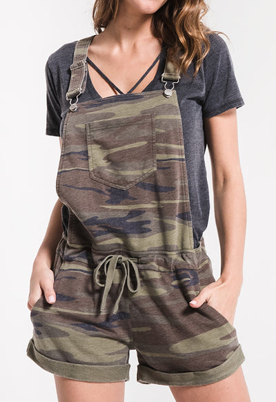 Z Supply - The Green Multi Camo Short Overalls