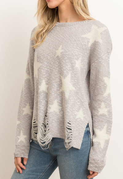 Kixters - Silver GreyIvory Star Distressed Hem Sweater