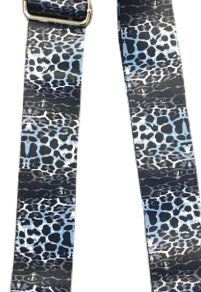 Ahdorned - Navy Horizontal Cheetah Animal Print Bag Straps