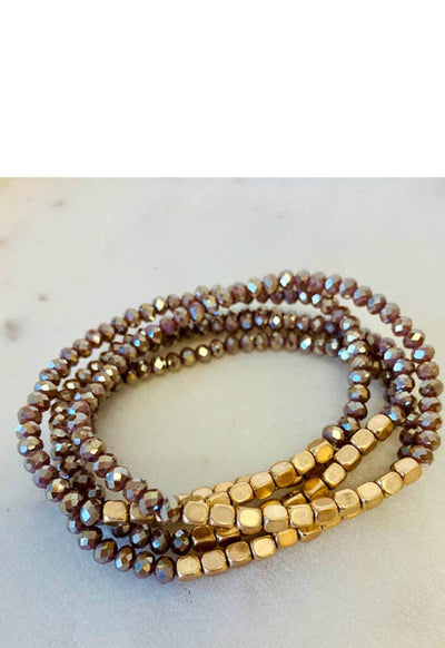 Kixters - Gold/Mocha Beaded 5 Strand Layered Bracelet