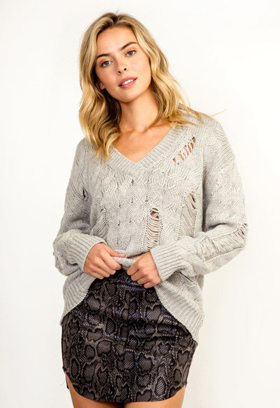 Kixters - Grey Distressed V-Neck Sweater