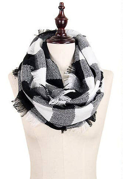 White Buffalo Plaid Infinity Scarf