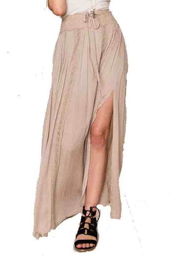 Kixters - Ecru Drawstring Side Slit Maxi Skirt