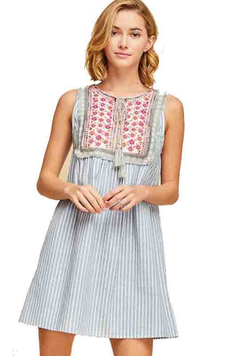 Light Blue Pinstripe Babydoll Mini Dress