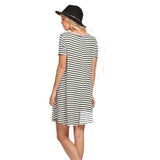 Ivory/Black Jersey Stripe Short Dress