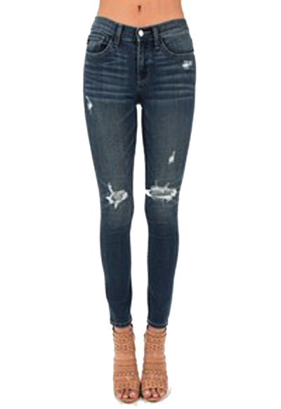 Judy Blue - Dark Blue Denim Flip Patch Destroyed Skinny Jeans