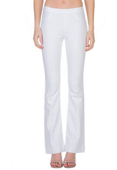Cello Jeans - White Denim Mid Rise Pull-On Flare Jeans