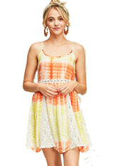 Orange/Yellow Tie-Dye Spaghetti Strap Dress