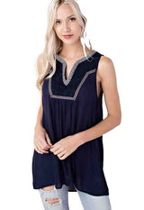 Kixters - Navy Aztec Trim V-Neck Sleeveless Top