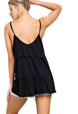 Black Tiered Spaghetti Strap Knit Cami Top