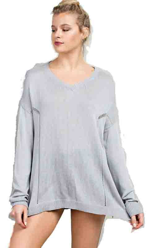 Kixters - Heather Grey Washed V-Neck Sweater