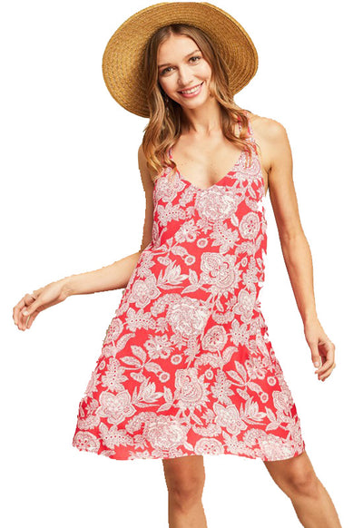 Coral Paisley Multi-Strap Dress