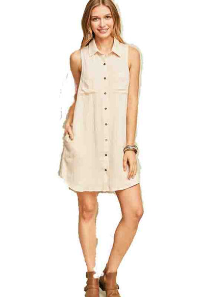 Oatmeal Button Down Sleeveless Shirtdress