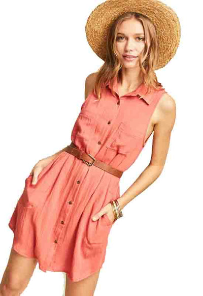 Salmon Button Down Sleeveless Shirtdress