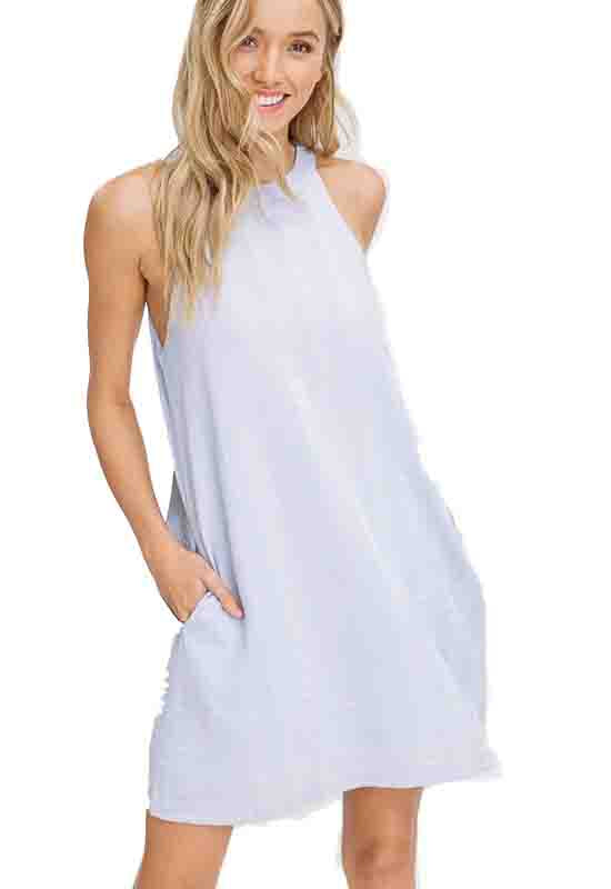 Light Blue Halter Shift Mini Dress