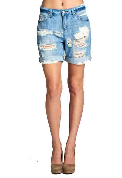 Kixters - Light Blue Denim Destroyed Medium Shorts