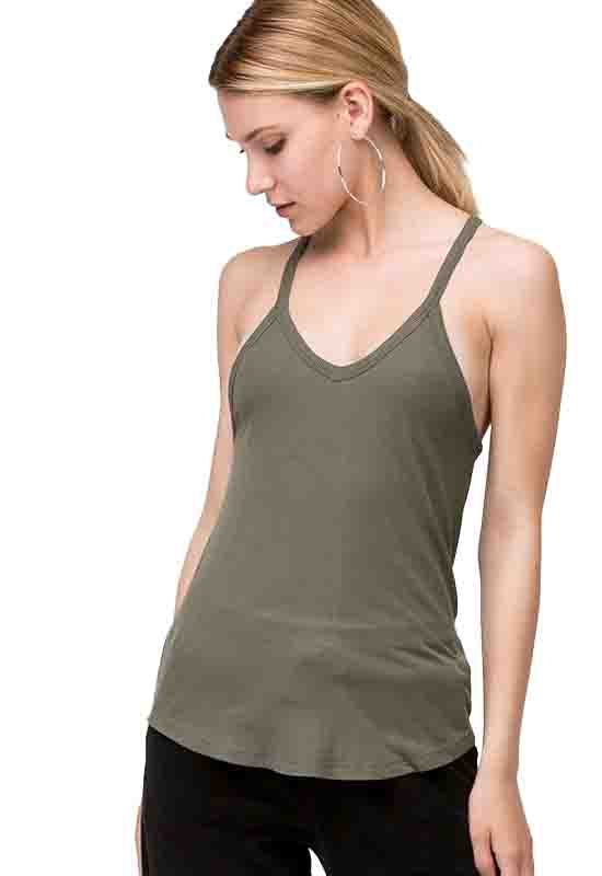 Olive Ribbed V-Neck Sleeveless Top
