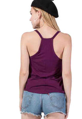 Kixters - Deep Purple Ribbed V-Neck Sleeveless Top