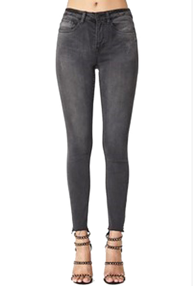 Judy Blue - Black Wash Denim High Waist Cut-Off Skinny Jeans