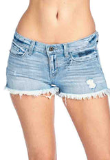 Light Blue Denim Distressed Shorts
