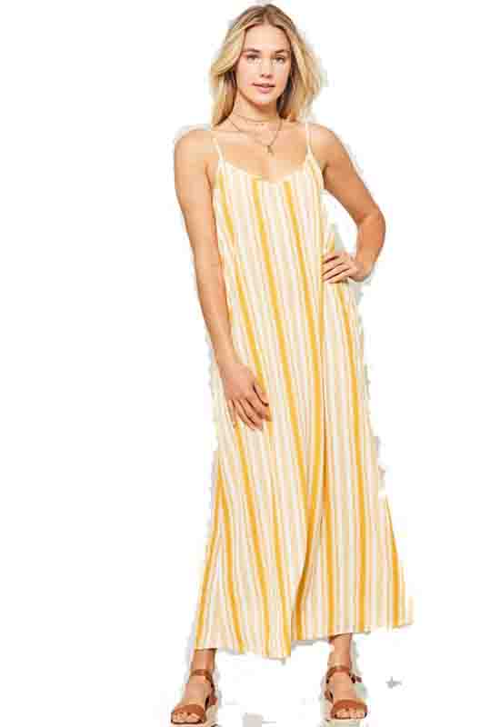 Mustard/White Spaghetti Strap Maxi Dress