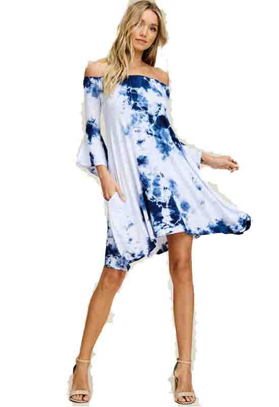 Navy Garment Dye Off-Shoulder Dress