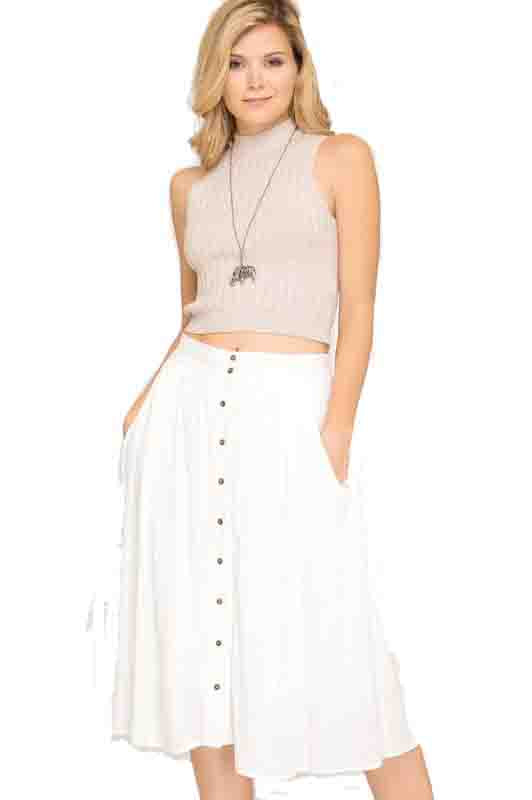 Off-White Button Down Midi Skirt