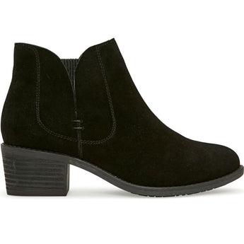 Me Too Zetti - Black Suede Dual Gore Pull-On Low Block Heel Bootie