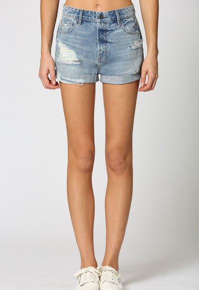 Hidden Jeans - Distressed Boyfriend Cuffed Denim Shorts Light Multi