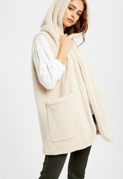 Kixters - Light Taupe Sleeveless Faux Fur Hoodie Vest