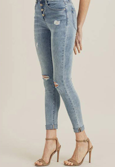 Risen Jeans - Light Blue Denim 5 Button Hi Rise Distressed Skinny Ankle Jeans