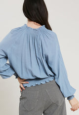 Kixters - Light Blue Cloud Smocked Hem Bishop V Neck Top