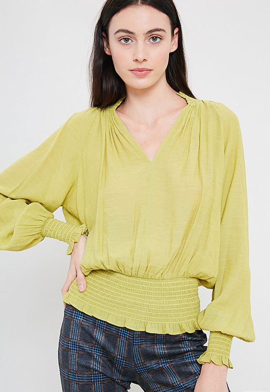 Kixters - Lime Smocked Hem Bishop V Neck Top