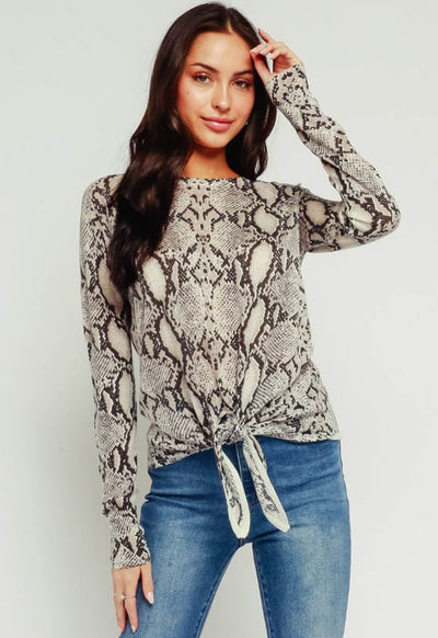Kixters - Heather Grey Snake Print Long Sleeve Top
