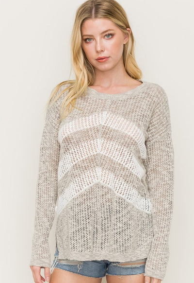 Kixters - Heather Grey/White Open Stitch Stripe Pullover Sweater