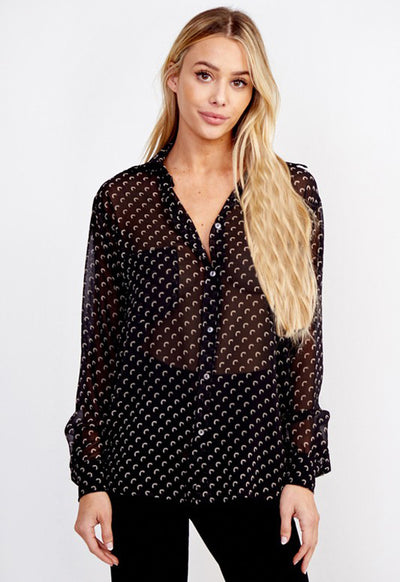 Kixters - Black Print Button Down Top