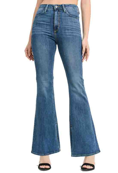 Just Black - Medium Blue Denim High Rise Side Slit Flare Jeans