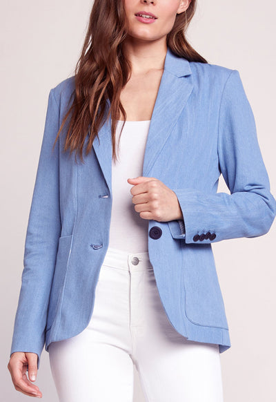 BB Dakota - Feel It In The Rain Light Blue Chambray Blazer