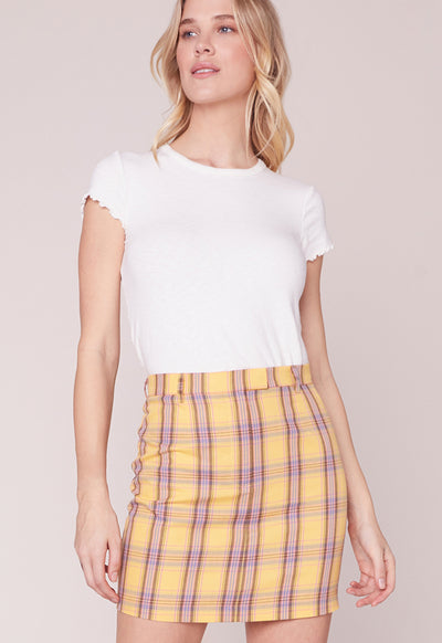 BB Dakota - Best I Ever Had Plaid Lemon Drop Mini Skirt