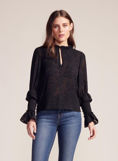 BB Dakota - I Heart Drama Black Embossed Printed Top
