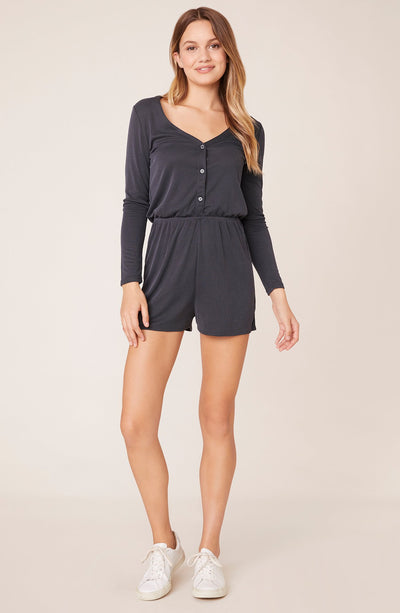BB Dakota - Charcoal Grey Easy Living Long Sleeve Romper