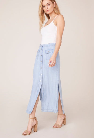 BB Dakota - Let It Indigo Light Blue Chambray Maxi Skirt