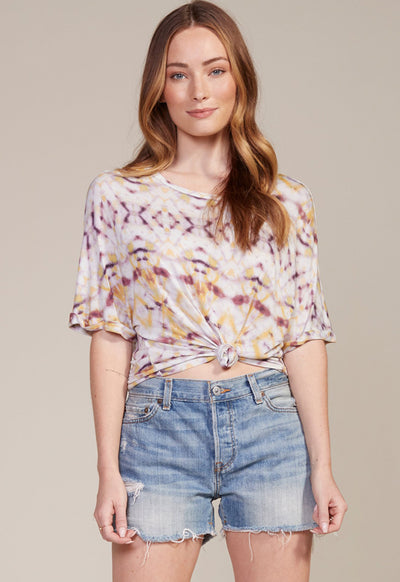 BB Dakota - Ivory Multi Print Lucy In The Sky Knotted Top
