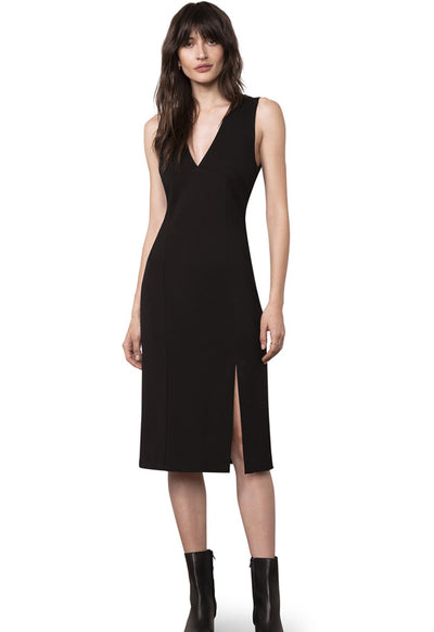 BB Dakota - First Glance Black Side Slit Skinny Dress