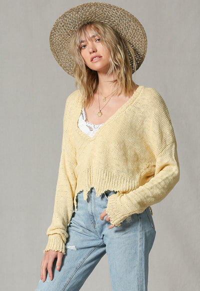 Kixters - Light Sunburst Yellow Long Sleeve V Neck Cropped Sweater