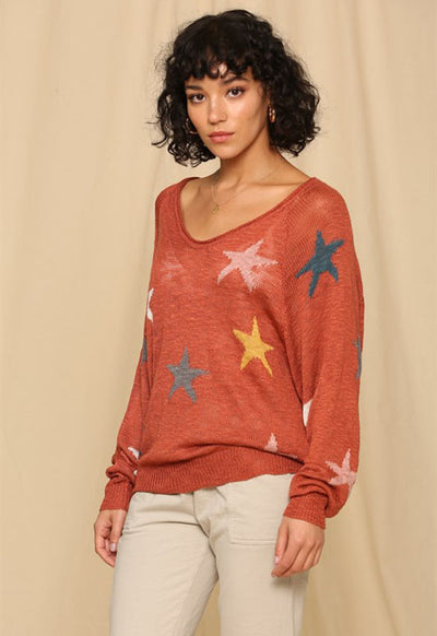 Kixters - Copper/Multi Stars Long Sleeve Sweater
