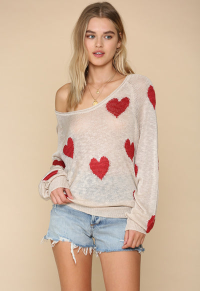 Kixters - Clay/Red Hearts Long Sleeve Sweater