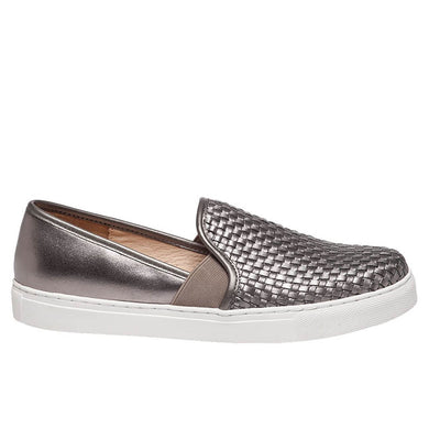 J Slides Botoga - Pewter Woven Leather Slip-On Flat Sneaker