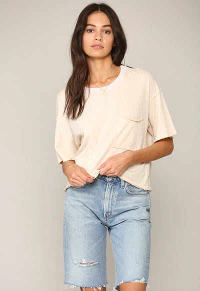 Garment Die Boxy T-Shirt -Bone