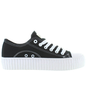 Coolway Britney - Black Canvas Platform Sneaker